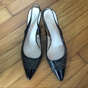 Prada lattice work kitten heels